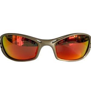 AOS+S Rivet Optical Safety Silver Orange Mirror Lens Men's Non-RX Sunglasses EUC